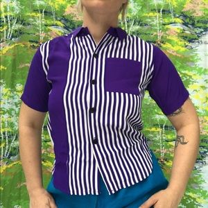 vintage stripe purple white pocket button up shirt